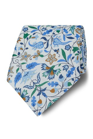 T.M. Lewin Liberty Fabric Wide White James Francis Cotton Tie
