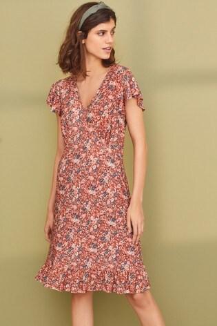 Rust Flute Sleeve Dress