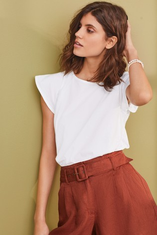 White Washed Flower Embroidered T-Shirt
