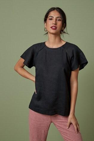 Black Short Sleeve Linen Top