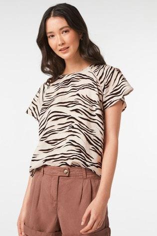 Mono Zebra Short Sleeve Linen Top