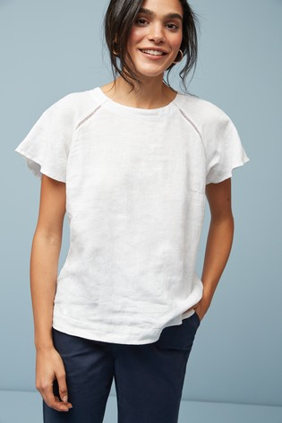 White Short Sleeve Linen Top