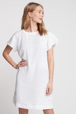 White Short Sleeve Linen Dress