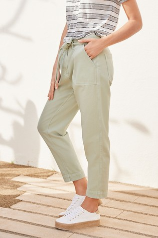 Sage Cropped Utility Tapered Jeans
