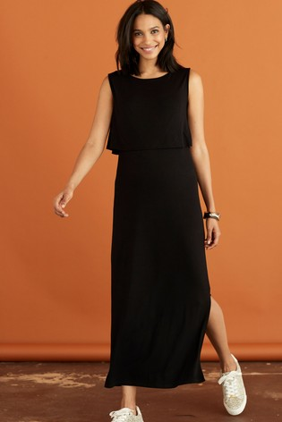 Black Maternity Nursing Midi Dress