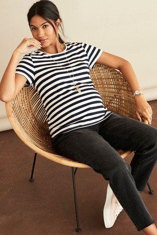 Navy Stripe Maternity Jersey T-Shirt