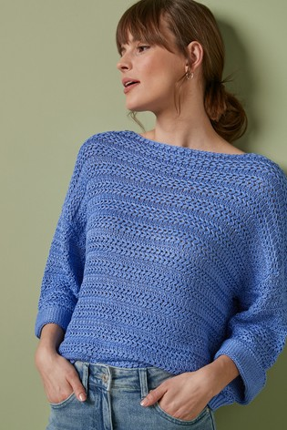 Blue Stitchy Boat Neck Jumper