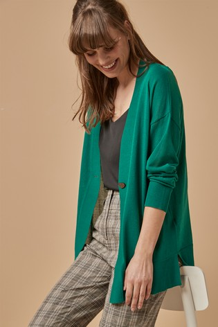 Green Button Detail Cardigan