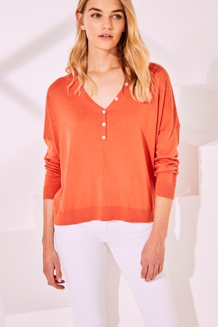 Orange Button V-Neck Jumper