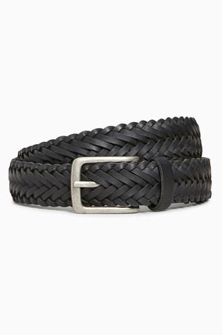 Black Leather Weave Belt