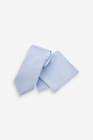 Light Blue Wide Silk Tie And Pocket Square Set
