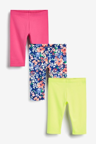 Floral 3 Pack Cropped Leggings (3-16yrs)