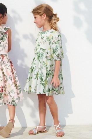 White Lemon Print Tiered Dress (3-16yrs)