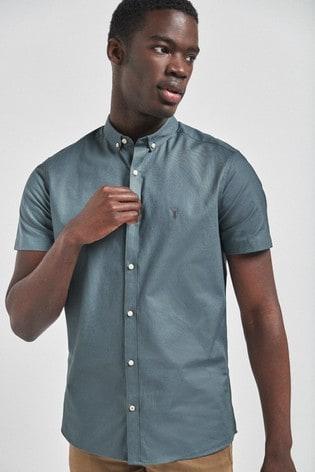Mid Blue Slim Fit Short Sleeve Stretch Oxford Shirt