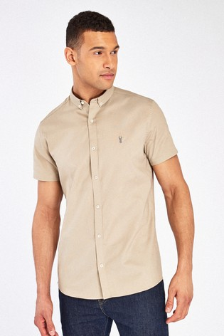 Stone Slim Fit Short Sleeve Stretch Oxford Shirt