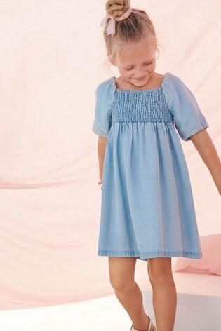 Puff Sleeve Shirred Dress (3-16yrs)