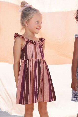 Peach Stripe Frill Strap Dress (3-16yrs)