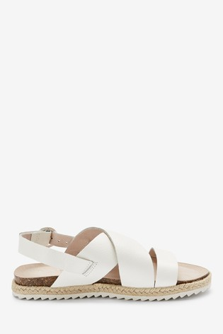 White Leather Rope Wrap Sandals (Older)