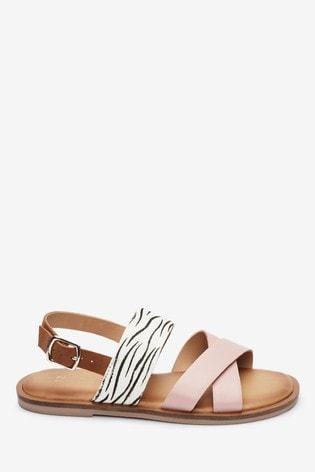 Pink/Zebra Cross Strap Sandals (Older)