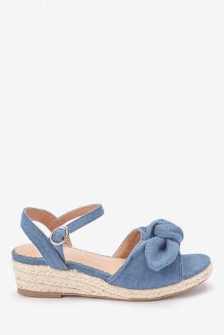 Denim Bow Wedge Sandals (Older)