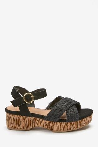 Black Cork Wedge Sandals (Older)