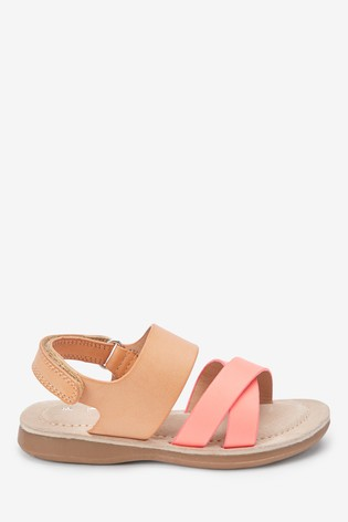 Tan Cross Strap Sandals (Younger)
