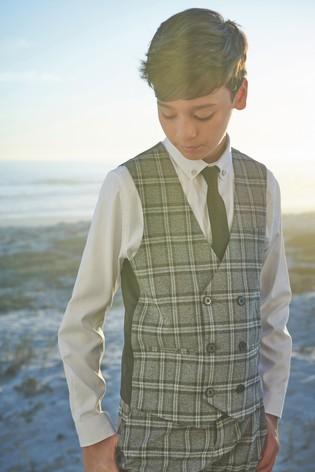 Grey Check Double Breasted Waistcoat, Shirt and Tie Set (12mths-16yrs)