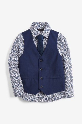 Navy Floral Print Waistcoat, Shirt And Tie Set (12mths-16yrs)
