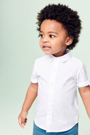 White Short Sleeve Linen Mix Shirt (3mths-7yrs)