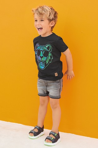 Black Organic Cotton Foil Tiger T-Shirt (3mths-7yrs)