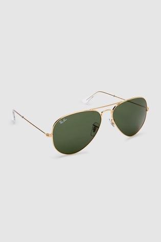 Ray-Ban® Gold Aviator Dark Green Lens Sunglasses