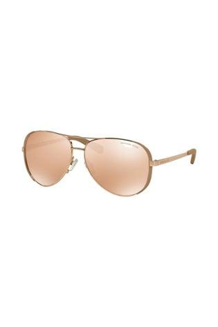 Michael Kors Rose Pink Nude Chelsea Rim Aviator Style Sunglasses