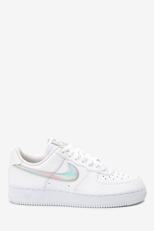 Nike White Iridescent Air Force 1 Trainers