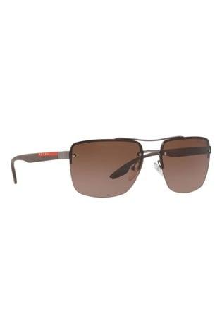 Prada Sport Brown Rimless Sunglasses