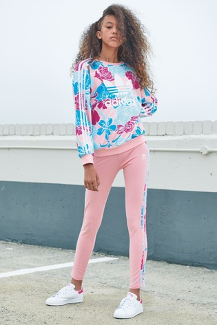 adidas Originals Pink Floral 3 Stripe Leggings