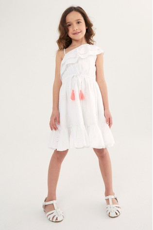 Oasis White Asymmetric Broderie Dress