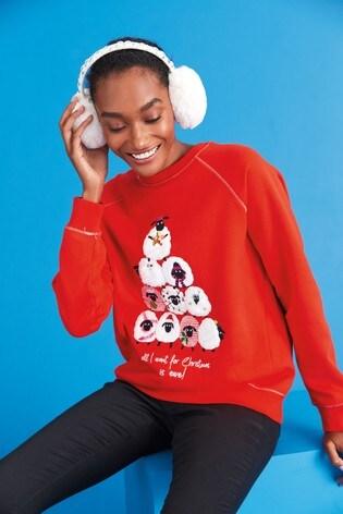 Red Sheep Graphic Christmas Sweatshirt