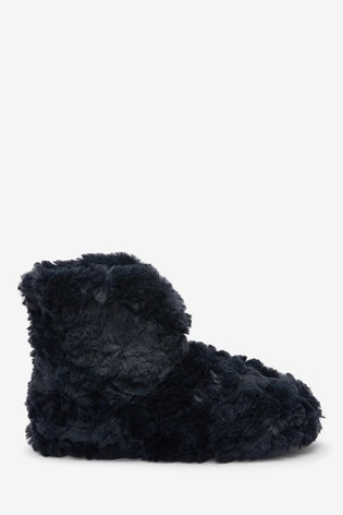 Navy Textured Faux Fur Boot Slippers