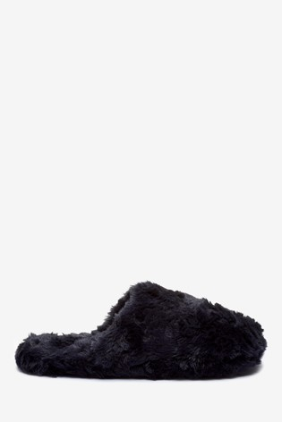 Navy Textured Faux Fur Mule Slippers