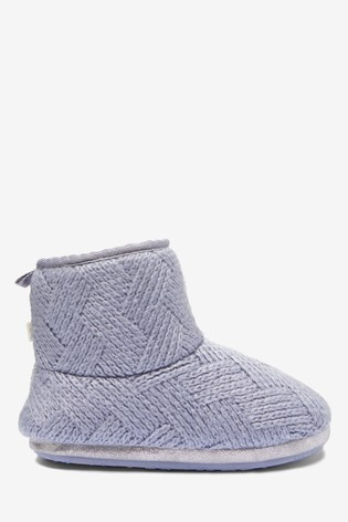 Blue Knitted Slipper Boots