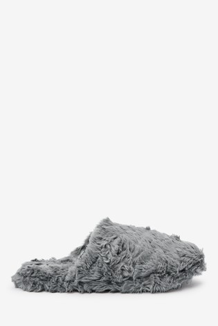 Grey Textured Faux Fur Mule Slippers