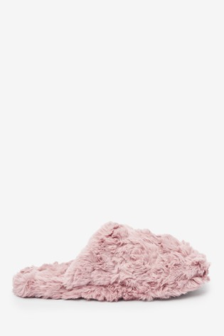 Pink Textured Faux Fur Mule Slippers