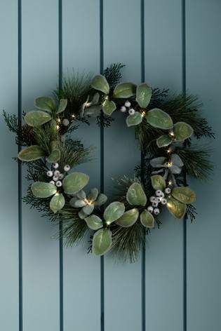 Lit Faux Foliage Wreath