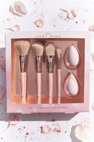 Just Pink Make Up Brush And Sponge Set