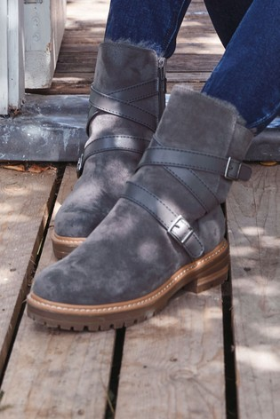 Grey Faux Fur Lined Forever Comfort® Buckle Strap Boots
