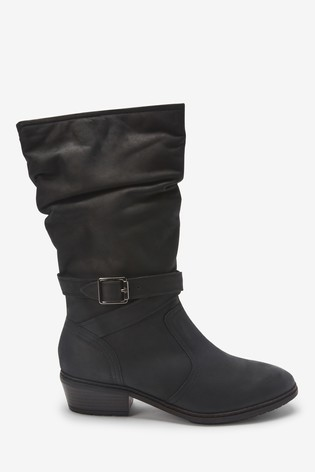 Black Forever Comfort® Leather Long Boots With Buckle Detail