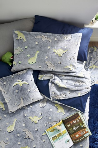 Glow In The Dark Fleece Dinosaur Duvet Cover And Pillowcase Set
