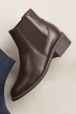 Chocolate Forever Comfort® Stud Detail Chelsea Boots