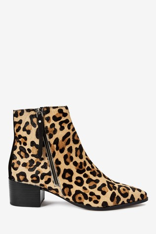 Animal Point Zip Chelsea Ankle Boots