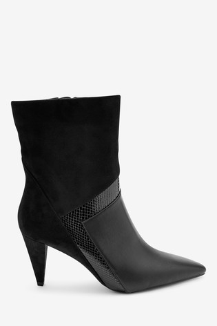 Black Forever Comfort® Vintage Pattern Midi Boots